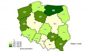 Stopa bezrobocia rejestrowanego - stan w końcu października 2012, GUS