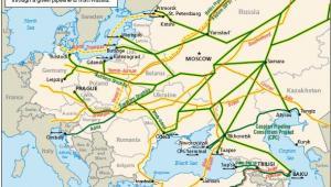 Rosyjskie gazociągi i ropociągi przechodzące przez Europę, źródło: www.eia.doe.gov