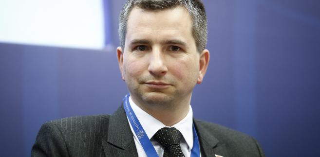 Minister finansów Mateusz Szczurek podczas spotkania w Instytucie Finansów Międzynarodowych (IIF)