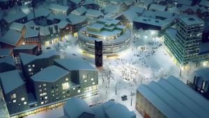 Wizualizacja nowego centrum Kiruny, źródło: White architects