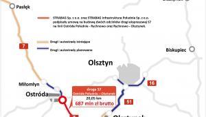 Warmińsko-mazurskie - droga S7; Ostróda Południe – Olsztynek