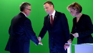 Andrzej Duda i Bronisław Komorowski dziękują sobie po debacie