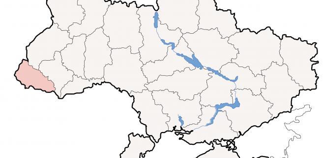 Region Zakarpacia na mapie Ukrainy.  Licencja: CC BY-SA 3.0, autor: Sven Teschke