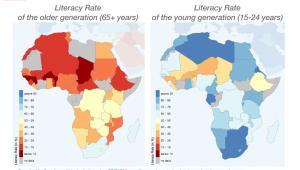 Wskaźnik alfabetyzacji poszczególnych pokoleń w Afryce