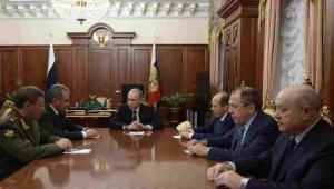 Władimir Putin podczas spotkania przedstawicieli Sił Zbrojnych Federacji Rosyjskiej EPA/ALEXEY NIKOLSKY / SPUTNIK / KREMLIN POOL MANDATORY CREDIT Dostawca: PAP/EPA.