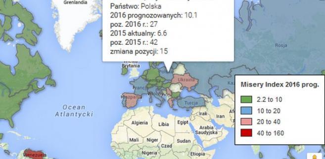Indeks nędzy - mapa