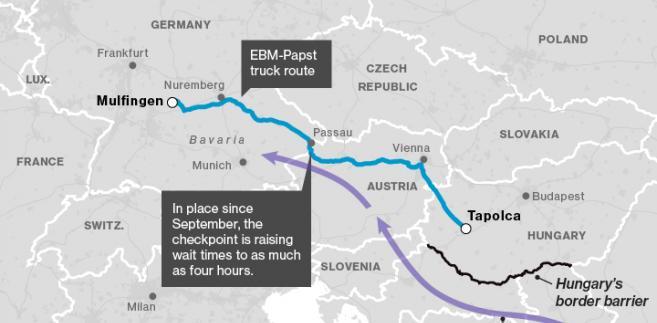 Podróż TIR-ów z Węgier do Niemiec pokazuje, jak uciążliwe są szczegółowe kontrole graniczne