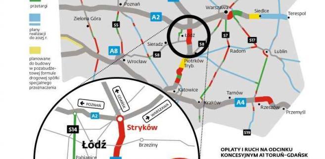 Mapa A1 Stryków - Tuszyn