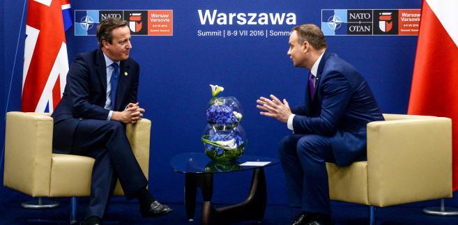 Prezydent RP Andrzej Duda oraz premier Wielkiej Brytanii David Cameron