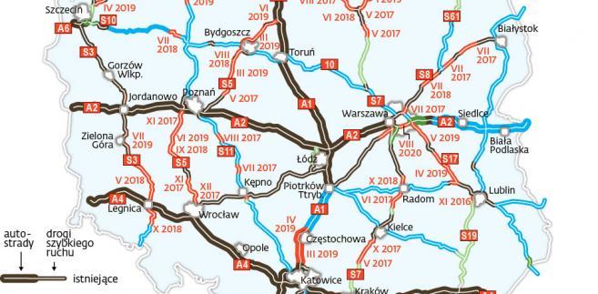 GDDKiA - Aktualna mapa z datami zakończenia prac