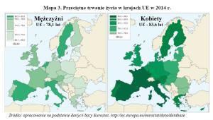 Przeciętne trwanie życia w krajach UE w 2014 r.; GUS