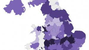 Udział obrokrajowców w wieku 16-64 lat w poszczególnych regionach Wielkiej Brytanii, którzy są zatrudnieni. Źrodło: Office for National Statistics