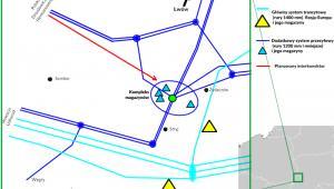 Schemat ukraińskich gazociągów w rejonie Lwów-Stryj