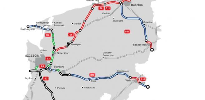 Zachodniopomorskie. Mapa budowy dróg, źródło: GDDKiA