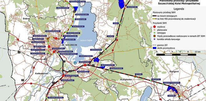 Szczecińska Kolej Metropolitalna, Opracowanie na podstawie Opcji 1 studium wykonalności SKM, BiuroSSOM, CC BY-SA 4.0