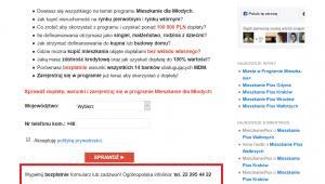 """Print screen strony http://mieszkanieplus.com, po wejściu w zakładkę """"Zarejestruj się w MdM"""" . Jeszcze w piątek 4 sierpnia podany był tam numer telefonu ogólnopolskiej infolinii. Po wysłaniu pytań przez """"DGP"""" do Expandera, strona została zaktualizowana."""