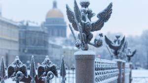 Figura orła z rosyjskiego godła, St. Petersburg, Rosja.