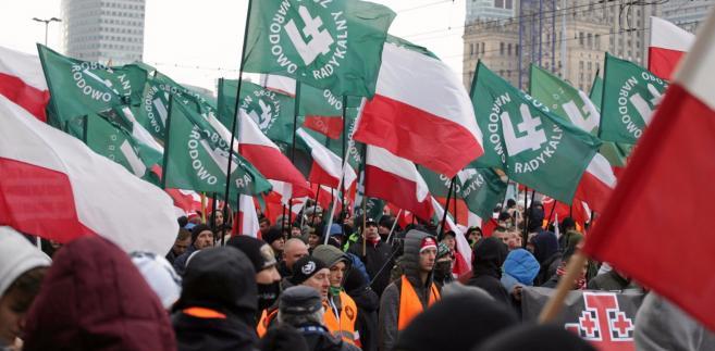 Flagi ONR na Marszu Niepodległości