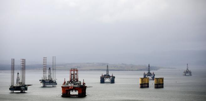 Nieużywane już platformy wydobywcze w porcie Cromarty Firth, Wielka Brytania, 16.02.2016