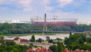 Warszawa, widok na Stadion Narodowy i Most Świętokrzyski