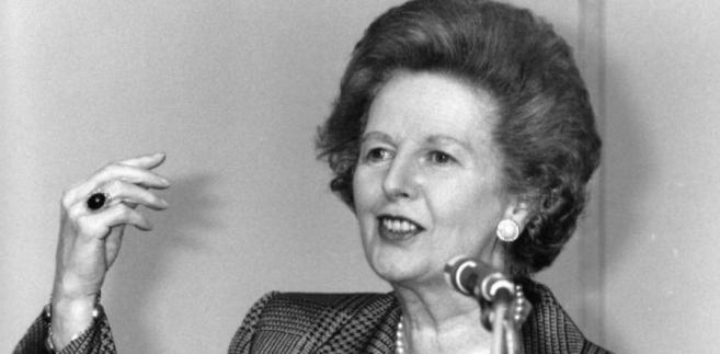 Margaret Thatcher przemawia 1 lipca 1991 roku w Londynie.