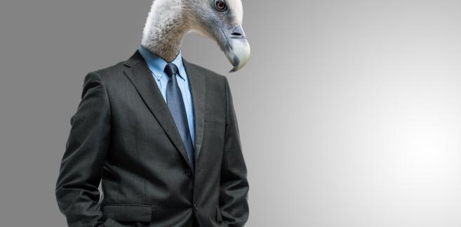 Biznesmen z głową sępa