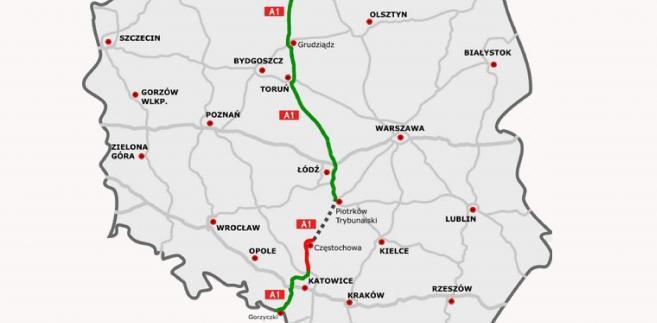 Autostrada A1. Na zielono: odcinki istniejące. Na czerwono: odcinki w budowie. Autor mapy: rzyjontko (talk) - road plan based on GDDKiA website (Polish Motorways Authority)sections under construction based on SkyskraperCity stats, CC BY 3.0