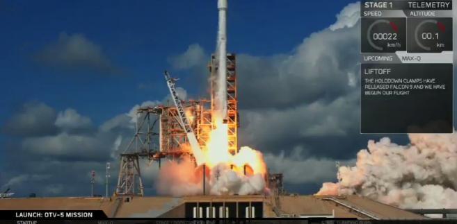 Start Orbital Test Vehicle 5, Źródło: Space X