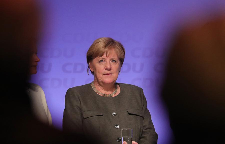 Angela Merkel w czasie spotkania wyborczego w Hamburgu, 20.09.2017