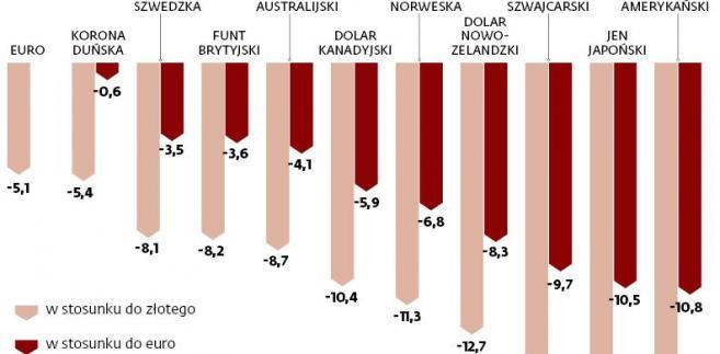 Zmiana notowań najważniejszych walut (proc.)