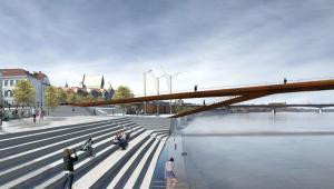 Kładka pieszo-rowerowa w Warszawie, projekt Schuessler-Plan Inżynierzy, który zajął pierwsze miejsce w międzynarodowym konkursie na projekt mostu
