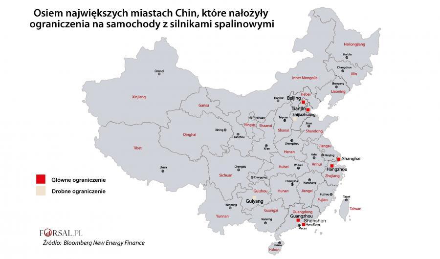 Największe miasta Chin z ograniczeniami dla silników spalinowych