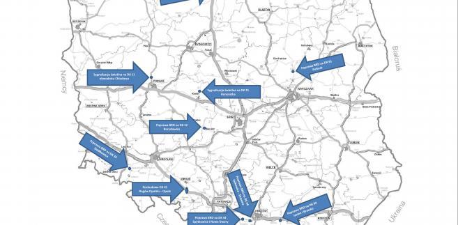 Mapa inwestycji skierowanych do realizacji, Źródło: Resort infrastruktury
