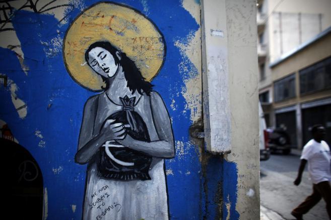 Graffiti związane z kryzysem strefy euro na jednej z ateńskich ulic (2)
