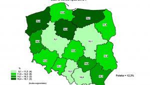 Stopa bezrobocia rejestrowanego w Polsce (stan na koniec lipca 2012) - podział na województwa, źródło: GUS